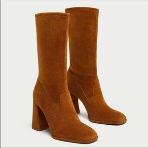 Zara corduroy heeled boots